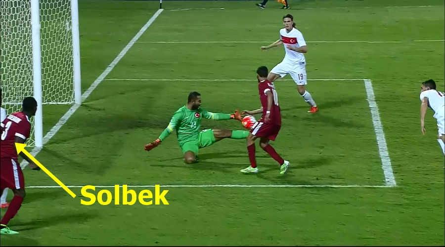 Net gol Poz Volkan Babacan engelliyor Katar-Türkiye 1-2 Haz. maçı